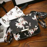 Women Floral Leather Shoulder Bag Satchel Handbag Ladies Retro Messenger Bag