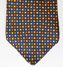 Tie Rack silk check tie gold and navy blue traditional made in Italy extra long