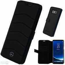 "Mercedes Samsung Galaxy S8 5,8"" Echtleder Handy Book Case Cover Schutzhülle Wave"