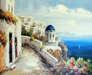 Greek Isle Santorini Churches Carpathian Sea 20X24 Oil Painting STRETCHED