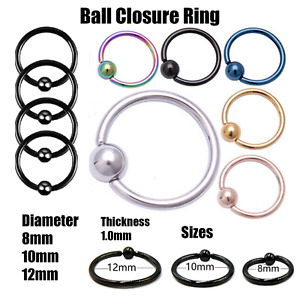 Ball Closure Nose Ring BCR Captive Bead Hoop Steel Eyebrow Septum Lip 6mm -12mm