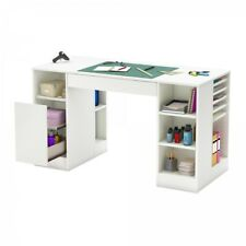 Craft And Sewing Table Storage Shelves Drawers Art Hobby Desk White Work Station