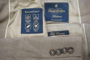 Brooks Brothers Madison Brookscool Light Brown Full Canvas 2 Pc Suit Sz 48R BIG
