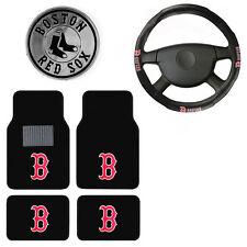 New 6pc MLB Boston Red Sox Car Truck Floor Mats Steering Wheel Cover & Emblem