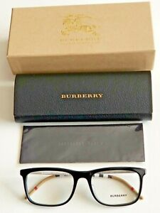 Brand New Burberry Men's Black Eyeglasses with Silver Burberry Iconic Temples.