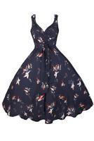 NAVY BLUE/MULTI BIRD PRINT RETRO 50s STYLE MIDI DRESS - PLUS SIZES 20 - 28
