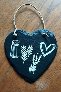 15cm Slate Heart Practical Magic Salt Rosemary Lavender Love Halloween Samhain