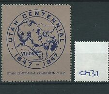 wbc. - CINDERELLA/POSTER - CM37- UNITED STATES - UTAH CENTENNIAL - 1947