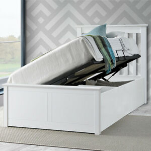 Frankie Wooden White Ottoman Storage Bed 3ft Single Bed with Mattress Kids Bed