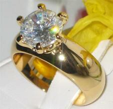 L073G 4.7CT  SOLITAIRE ENGAGEMENT SIMULATED DIAMOND RING WOMENS WIDE BAND GOLD