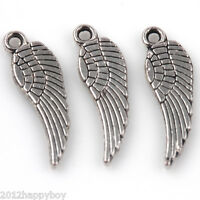 50PCS Tibetan Silver Angle's Wing Charms Pendants Jewelry Connectors 17x5mm