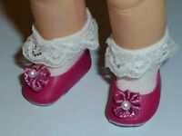 """Pearly Flats Fuschia Pink Slip on Shoes Fits 8"""" Madame Alexander,Ginny Doll 28mm"""