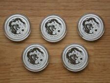 LOT OF 5 - 2012 Australian Lunar Year of the Dragon 1/2 oz Silver Coins