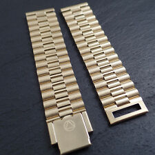 NSA SWISS Vintage Gold Plaque Stainless Steel Metal Dive Divers 18mm Watch Strap