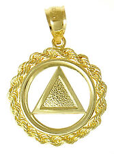 AA Alcoholics Anonymous Gorgeous Symbol Pendant, #27-2 Med. Size, 14k Gold