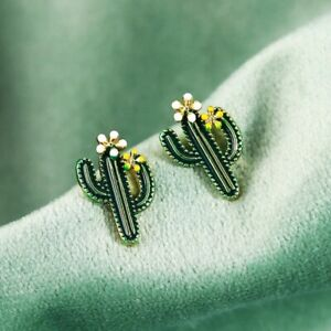 Small Retro Style Crystal CACTUS Cacti Stud Earrings Gift Dress Accessory