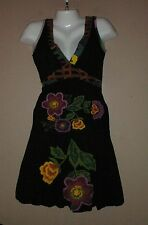 Womens DESIGUAL Black Floral Print Dress Size XS Sleeveless Bubble Hem Deep V