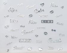 Silver Metallic Kiss Sweet Cute Bows Hearts Writing 3D Nail Art Stickers Decals