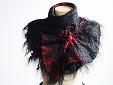 Alpaca Red and Black Felted Scarf Wool Silk Art wrap shawl scarf