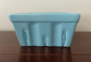 Crate & Barrel Berry Basket Kitchen turquoise Square Ceramic Colander Dish