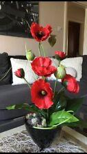 Artificial Red Poppy Flower Arrangement ,Decorative Silk Poppies,In Black Pot