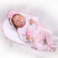 22''Lifelike Handmade Full Silicone Reborn Baby Doll Vinyl Sleeping Newborn Girl