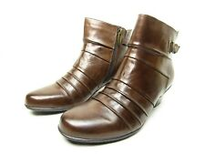 EARTH Crusade Bark Leather Zip Up Ankle Boots Size 11M