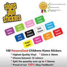 108 Personalised Childrens Name Stickers  Labels Lunch boxes - School tags