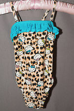 Sanrio Hello Kitty Toddler Swimsuit Leopard Turquoise 2T One Piece Bathing Suit