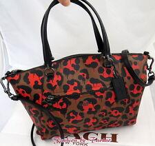 New w Tag COACH 36451 Ocelot Leopard Print Prairie Satchel Bag Orange Wild Beast
