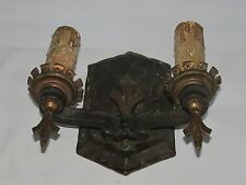 Gothic Rustic Iron Double-Lamp Wall Sconce, Salvage, for Restoration