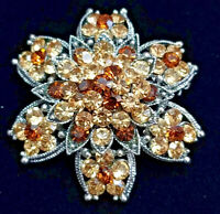"VINTAGE 80s Rhinestone Pin Brooch AMBER BROWN GLITZY 3-Tier Flower XL 1.75"" Dia"
