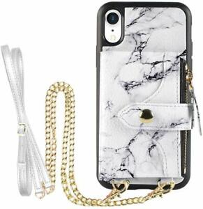 Lameeku iPhone XR Wallet CaseCredit Card Holder Slot Leather 6.1in White Marble