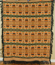 DAZZLING Vintage 30's Beacon Camp Blanket Shawl ~Great Colors & Indian Design!