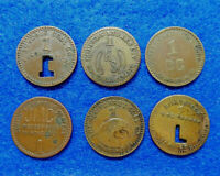 West Virginia Coal Scrip Lot of 6 one cent tokens:Lundale,RedParrot,Lillybrook +