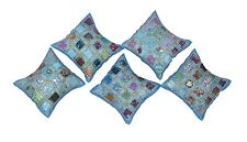 """Indian Cushion Cover Set Silk Embroidery Mirror Work Pillow Cases Art 16"""""""