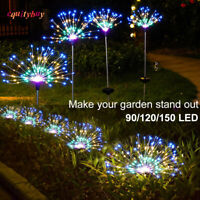 90/120/150 LED Solar Firework Lights Stake Outdoor Lamp Path Lawn Garden Decor