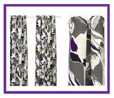 IKEA Janette Gray Purple White Curtain Panel-2 Grommet Heavy NEW Abstract Floral