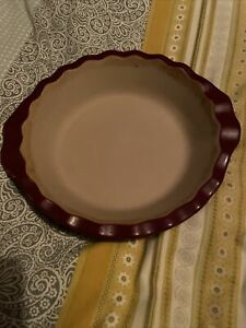 """Cranberry Glazed 9 X 1.5"""" Fluted Pie Dish Pampered Chef"""