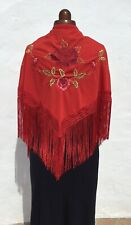 Vintage Spanish Flamenco/Gypsy Shawl Red/Red &Green Floral Embroidery Triangular
