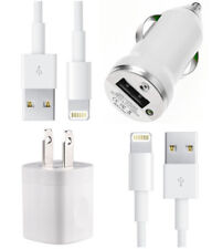 USB Home AC Wall + Car Charger + 2 x 8 Pin Data Sync Cable For iPhone 8 7 6 5 5S