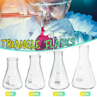 2X 500ML Borosilicate Glassware Graduated Conical Flask Erlenmeyer Measuring