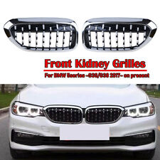 2PCS Chrome Front Kidney Grille Grill Diamond For BMW 5 Series G30 G38 2017-2020