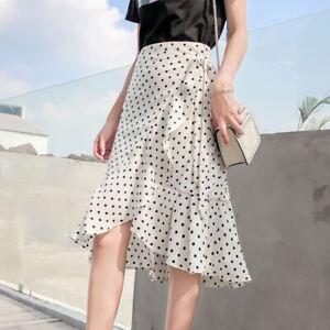 Lady Wrap Skirt Fishtail Beach Ruffle Chiffon Polka Dots Midi Summer Thin Skirt