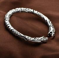 Punk Mens Sterling Silver Plated Twin Dragon Cuff Open Bangle Bracelet #BR488