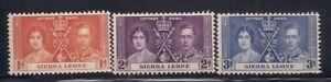 Sierra Leon  1937   Sc # 170-72   Coronation   MLH   (5038-)