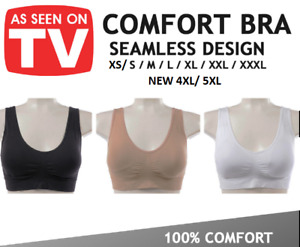 WOMENS SEAMLESS COMFORTABLE BRA Comfy Shapeware Sports Stretch Crop Top Support