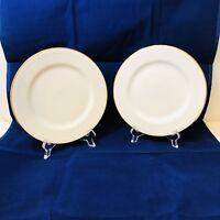 "2 Pier 1 Gold Line Salad Plates Monno-Bangladesh Beautiful and Elegant 7 3/4"""