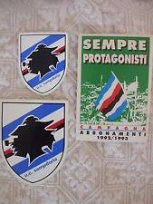 SAMPDORIA CALCIO 3 ADESIVI ULTRAS ULTRA' STEMMA SQUADRA CAMPAGNA ABBONAMENTI '93