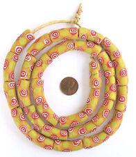 Ghana handmade Elbow Mustard yellow with dab of lemon yellow and red design
